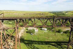 Old metal bridge with a railway Stock Photography