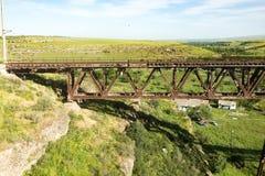 Old metal bridge with a railway Stock Photos