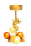 old metal candlestick with angel and christmas b Stock Image