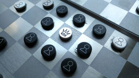 Old metal Chess board. Concept of business strategy. The Leader / solve Royalty Free Stock Photography
