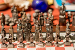 Old metal chess game stock photo