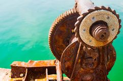 Old metal cleat on dock transportation, trave horn, industry, marine Royalty Free Stock Photos