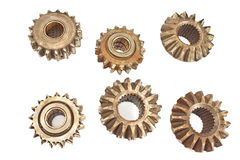 Old metal cogs isolated. On white Stock Image