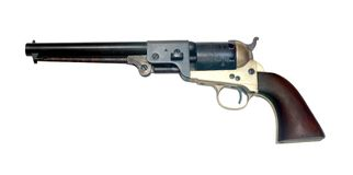 Old metal colt revolver. On white background Royalty Free Stock Photography