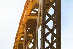 Old metal connection on rivets, metal construction of the bridge, stock images