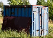 Old metal container for transportation in nature Stock Photography