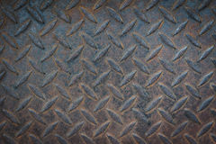 Old metal diamond plate. Old metal diamond texture background Stock Photo