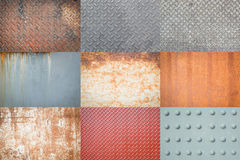 Old metal diamond plate or old checkered steel plate with rusty. Royalty Free Stock Images