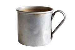 Old metal dirty retro cup isolated Royalty Free Stock Photo
