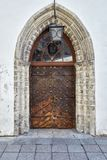 Old metal door in Tallinn royalty free stock photo