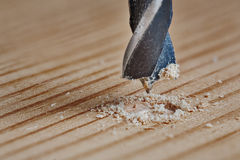 Old metal drill bit makes a hole in the wood. Old metal drill bit makes hole in the wood Stock Images
