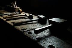 Old metal equipment, iron, steel, wood, vintage stock image