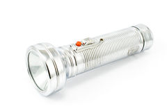 Old metal flashlight Stock Images