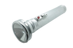 Old metal flashlight, silver torch Stock Photos