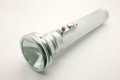 Old metal flashlight, silver torch Royalty Free Stock Photo