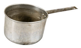 Old Metal Food Cooking Pot Isolated On White. Old metal cooking pot that is beat and banged up. Used by a cook for cooking food on a stove in a kitchen. Isolated royalty free stock photo