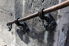 Old metal forged handrails stock photo