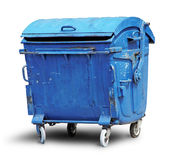 Old metal garbage container stock photo