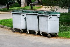 Garbage containers on the park Royalty Free Stock Photo