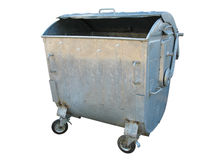Old metal garbage trash container Royalty Free Stock Image