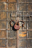 Old metal gate in medieval castle. Stock Photo