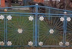 Old metal gates. Made of round tubes Royalty Free Stock Images