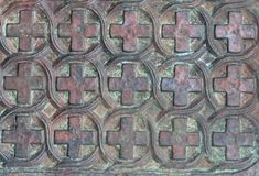 Old metal gates of an orthodox temple close up stock photos