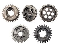 Old metal gear wheel or pinion part , Motorcycle Gear driven gear reduction ratio isolated on white background.  stock photos
