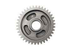 Old metal gear wheel or pinion part , Motorcycle Gear driven gear reduction ratio  isolated on white background.clipping path. Included royalty free stock photos