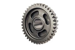 Old metal gear wheel or pinion part , Motorcycle Gear driven gear reduction ratio  isolated on white background.clipping path. Included royalty free stock photo
