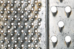 Old metal grater on white as background Stock Images