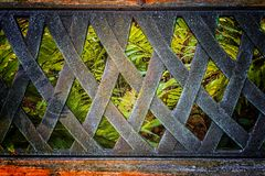 The old metal handmade back texture of the bench with ferns view Royalty Free Stock Image