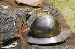 The Old Metal Helmet Stock Photo