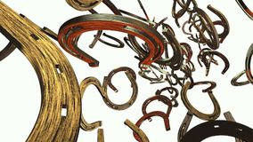 Old metal horseshoe on white stock footage