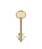 Old metal key. From the lock on the white Stock Photos
