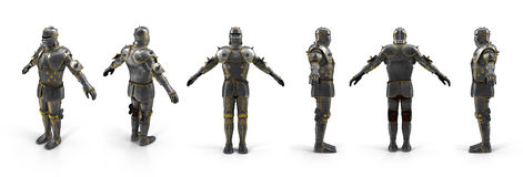 Old metal knight armour renders set from different angles on a white. 3D illustration Royalty Free Stock Photography