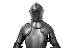Old metal knight armour  on white background Stock Photo