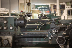Old metal lathe machine Royalty Free Stock Photos