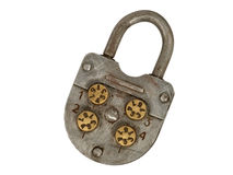 Old metal lock. Isolated. Royalty Free Stock Photos