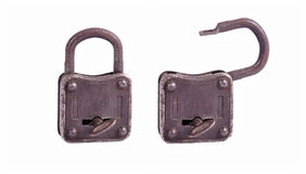 Old metal lock with key isolated on white background Stock Images