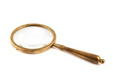 Old metal magnifying glass isolated Royalty Free Stock Photos