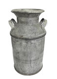 Old metal milk can and lid isolated. Stock Photos