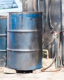 Old metal oil barrel Stock Photo