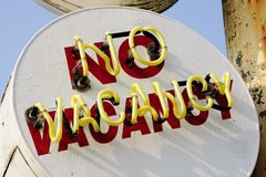 Old Metal Painted and Neon No Vacancy Sign Stock Images