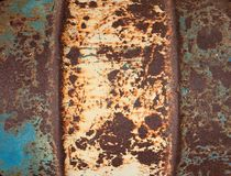 Old metal painted a rusty barrel. Background. Royalty Free Stock Photos