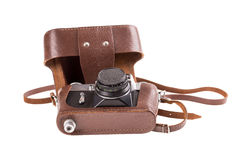 Old metal photo camera in leather case. Royalty Free Stock Images