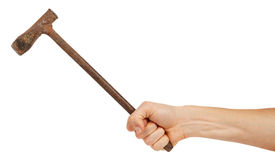 Old metal pickaxe in male hand Royalty Free Stock Photography