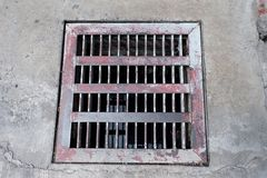 Old metal pipe cap plate on road. Metal pipe cap plate. Drainage cover. Sewer drain on the pavement stock photo
