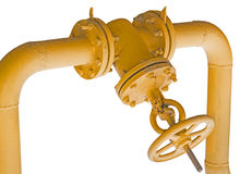 Old metal pipe with valve on white Stock Photo