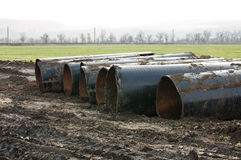 Old metal pipes dismantled for scrap Royalty Free Stock Photography